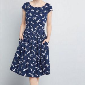 Modcloth airplane swing dress, L, NWT